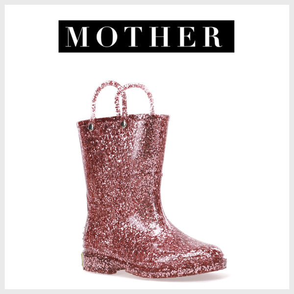 Mother - THE CUTEST RAIN AND SNOW GEAR FOR KIDS - Western Chief - Kids Rain Boot - Kids Glitter Boot - Kids Glitter Rain Boots - Rose Gold - Toddler Rain Boots - Rain Boots Kids - Rain Boots for Girls