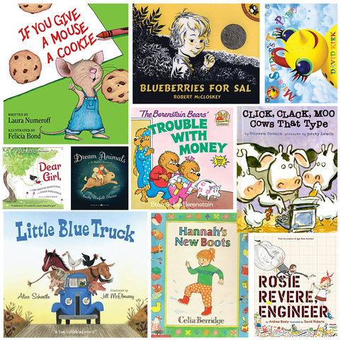 collage of kids books mentioned in this western chief kids employees picks blog post