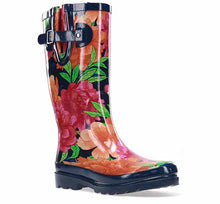 Waterproof womens boots with bold, colorful blossom print and navy trim.