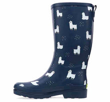 Womens printed rain boots with cute llamas, buckle detailing, and pull tab.