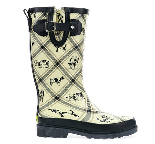 Women's Country Cows Tall Rain Boot - Cream