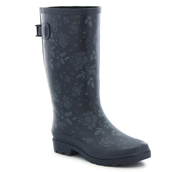 Womens Feminine Floral Vari-Fit Rain Boot - Slate - Western Chief