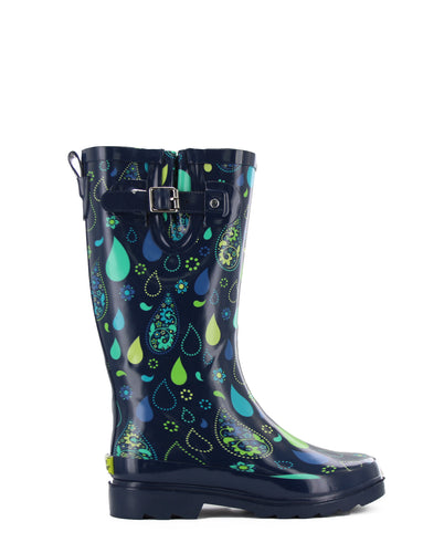 Women's Pouring Paisley Tall Rain Boot - Navy