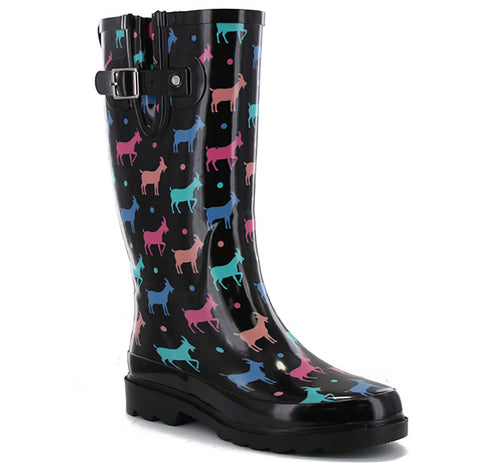 Women's Dotty Goats Tall Rain Boot - Black