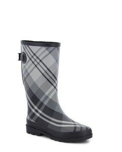 Women's Fresh Plaid Wide-Calf Rain Boot - Gray