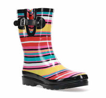 Product image of womens mid-calf rain boots with vibrant stripes, black trim, and buckle.
