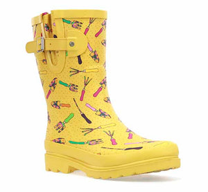 Womens mid rain boot in yellow with fun gardening tool print and side buckle.