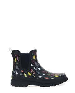 Women's Rain Drop Chelsea Rain Boot - Black