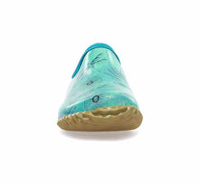 Product image of womens clogs in teal with dragonfly print and tan rubber outsole.