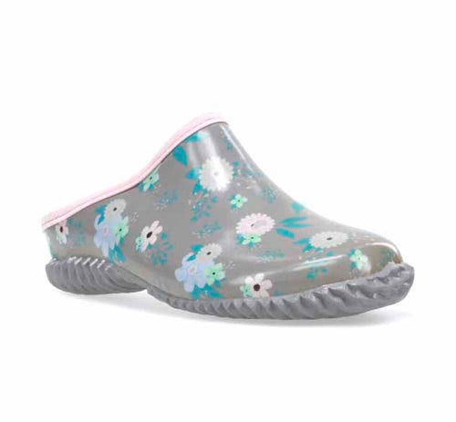 Product image of a waterproof garden clog in gray with pastel pink and purple floral print.