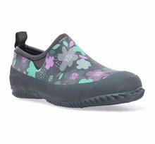 Womens neoprene shoes with floral petals in green and purple, pull tab, and rubber outsole.