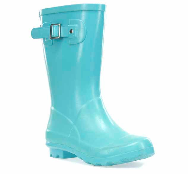 A basic youth aqua rain boot with pull tab for easy on and off, as well as an adjustable buckle.
