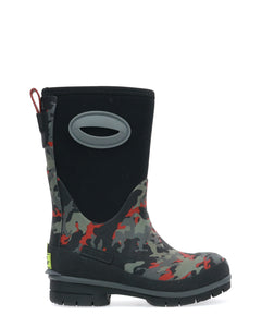 Kids Storm Camo Neoprene Winter Snow Boot - Black
