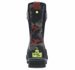 Product image of neoprene boots for cold weather with red and grey camo print, rubber outsole, pull tab, and side handles.