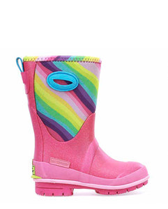 Kids Glitter Rainbow Neoprene Winter Snow Boot - Multi
