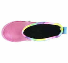 Kids neoprene boots with rainbow print, glitter, and pink rubber outsole. Includes side handles and pull tab for easy on.