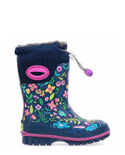 Kids Folksy Floral Winterprene Winter Snow Boot - Navy