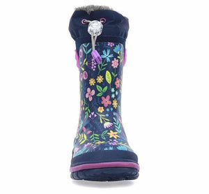 Product image of girls neoprene boots with bright floral print, side TPR handles, and faux fur lining.