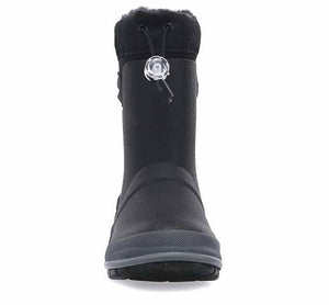 Product image of black neoprene boots with side TPR handles, faux fur lining for warmth, and rubber outsole.