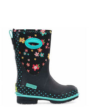 Kids Daisy Delight Neoprene Winter Snow Boot - Black