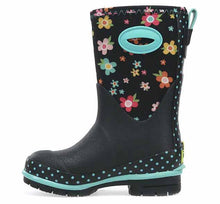 Neoprene boots with pink, blue, and orange flowers on the waterproof upper. Features blue polka dot trim and side handle.