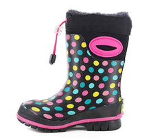 Neoprene boots for girls with colorful dot print, faux fur lining, and traction rubber outsole.