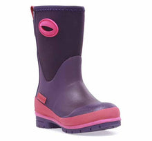 Solid neoprene boots for kids in purple, with pink trim and side handles, plus a pull tab on the back of the boot.