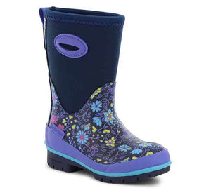 Product image girls cold weather boots with neoprene upper, purple side handles, and beautiful floral print.