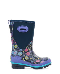 Kids Floral Fun Neoprene Winter Snow Boot - Navy