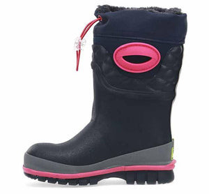 Kids cold weather boots with neoprene upper, rubber outsole, and faux fur lining for comfort and warmth.