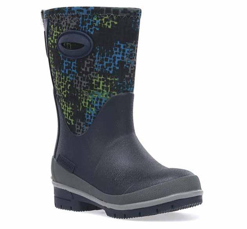 Product image of big kids neoprene boots with digitalized blue and green print, grey trim, and blue outsole.
