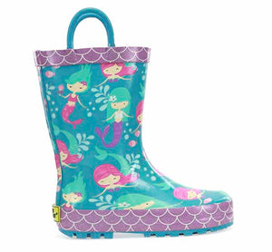 Product image of rain boots with fun mermaid print, purple scallop trim, and handles.