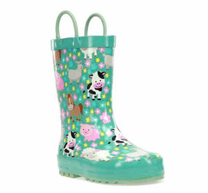 Girls waterproof boots in sky blue with baby farm animal print.