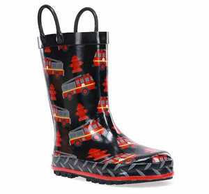 Product image of boys firetruck rain boot in black with red truck and fire hydrant print on the rubber upper.