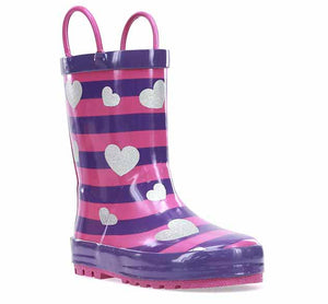 Kids Glitter Hearts Rain Boot - Purple