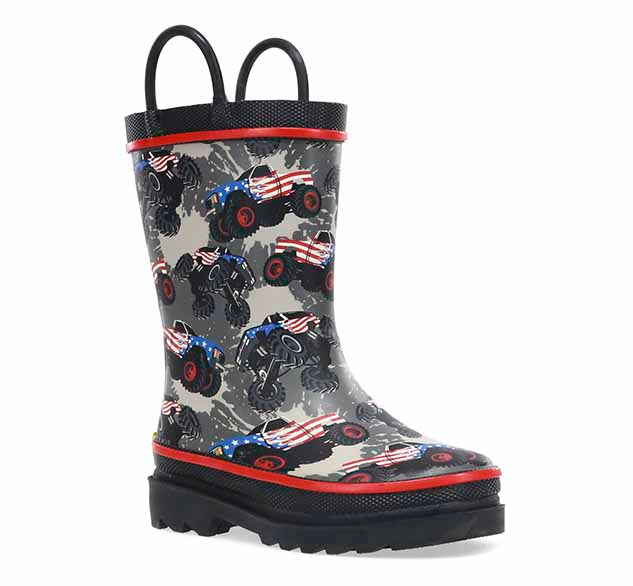 Product image of boys rain boots with monster truck print and two pull handles.