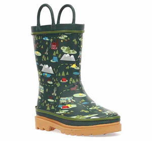 Kids waterproof boot with printed olive upper and tan heel outsole.