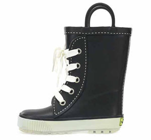 Black sneaker boots with solid upper, white laces, white outsole and two pull handles.