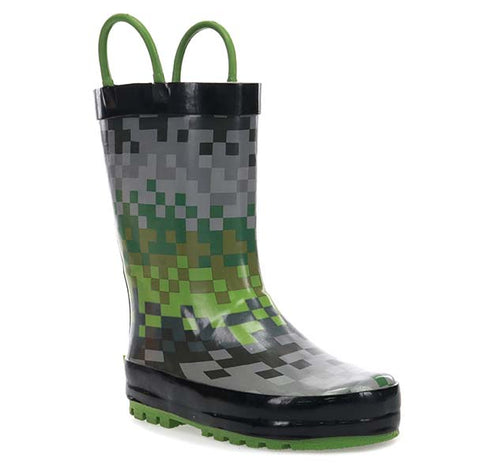Kids Digi Stripe Rain Boot - Green