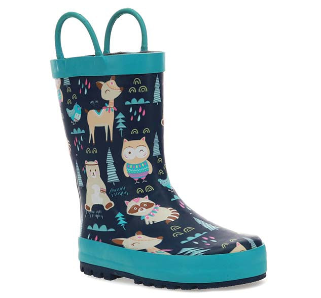 Kids Woodland Boho Rain Boot - Navy