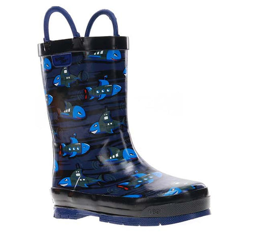 Kids Shark Sub Rain Boot - Blue