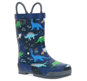 Kids Space Dinos Rain Boot - Navy