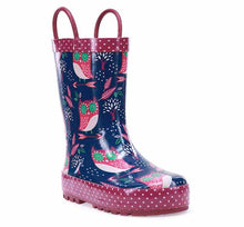 Product image of a cute printed kids rain boot. Big owls, pink trim with small white dots, and pull handles.