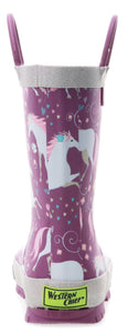 Kids Fancy Horse Rain Boot - Lilac