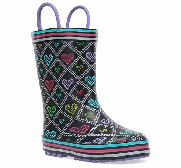Kids warm rain boot with heart print, striped trim, and purple pull handles.