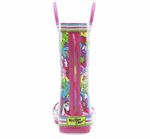 Colorful rubber rain boot with whimsical animals on the upper and a 3D wave with stripes.