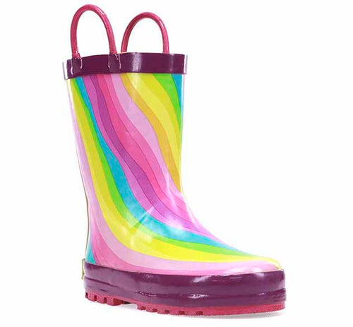 Product image of a kids rubber rain boot with rainbow print, pull handles, rubber outsole, and purple trim.
