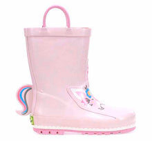 Kids unicorn rain boot with soft rose upper, 3D tail, rubber outsole, and two pull handles.