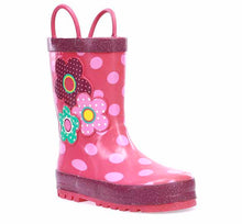 Product image of a rubber boot for kids with pink, blue, and purple flowers on the side surrounded by light pink polka dots.