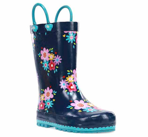 Kids printed rubber boot with elegant flower print on the navy upper, as well as bright blue outsole and pull handles.